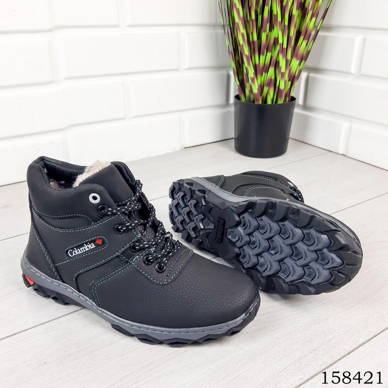 Детские, подростковые ботинки зимние на шнурках, черного цвета из эко кожи, внутри теплый эко мех.