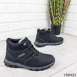Детские, подростковые ботинки зимние на шнурках, черного цвета из эко кожи, внутри теплый эко мех., фото 3