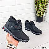 Детские, подростковые ботинки зимние на шнурках, черного цвета из эко кожи, внутри теплый эко мех., фото 4