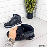 Чоловічі зимові черевики на шнурках, чорного кольору з еко шкіри, всередині теплий еко хутро., фото 2
