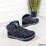 Чоловічі зимові черевики на шнурках, чорного кольору з еко шкіри, всередині теплий еко хутро., фото 3