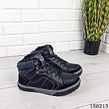 Чоловічі зимові черевики на шнурках, чорного кольору з еко шкіри, всередині теплий еко хутро., фото 4
