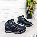 Чоловічі зимові черевики на шнурках, чорного кольору з еко шкіри, всередині теплий еко хутро., фото 5