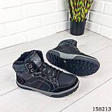 Чоловічі зимові черевики на шнурках, чорного кольору з еко шкіри, всередині теплий еко хутро., фото 6