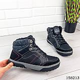 Чоловічі зимові черевики на шнурках, чорного кольору з еко шкіри, всередині теплий еко хутро., фото 7