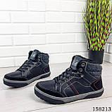 Чоловічі зимові черевики на шнурках, чорного кольору з еко шкіри, всередині теплий еко хутро., фото 8
