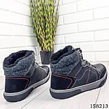Чоловічі зимові черевики на шнурках, чорного кольору з еко шкіри, всередині теплий еко хутро., фото 9