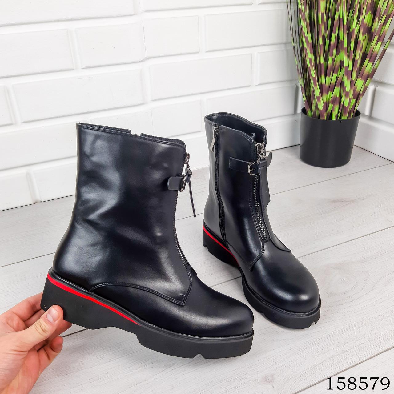Женские ботинки демисезонные на молнии, черного цвета из эко кожи, внутри флис