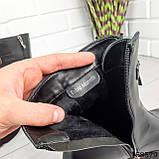 Женские ботинки демисезонные на молнии, черного цвета из эко кожи, внутри флис, фото 2