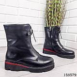 Женские ботинки демисезонные на молнии, черного цвета из эко кожи, внутри флис, фото 3