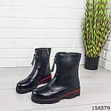 Женские ботинки демисезонные на молнии, черного цвета из эко кожи, внутри флис, фото 4