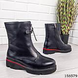 Женские ботинки демисезонные на молнии, черного цвета из эко кожи, внутри флис, фото 5
