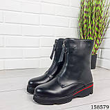 Женские ботинки демисезонные на молнии, черного цвета из эко кожи, внутри флис, фото 6