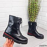 Женские ботинки демисезонные на молнии, черного цвета из эко кожи, внутри флис, фото 8