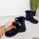 Женские ботинки зимние, черного цвета из эко нубука на шнурках, внутри теплый эко мех, фото 2