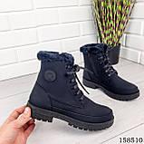 Женские ботинки зимние, черного цвета из эко нубука на шнурках, внутри теплый эко мех, фото 3
