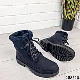 Женские ботинки зимние, черного цвета из эко нубука на шнурках, внутри теплый эко мех, фото 5