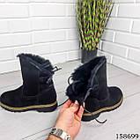 Жіночі черевики шкіряні чорного кольору з натуральної замші, всередині теплий еко хутро, фото 2