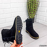 Жіночі черевики шкіряні чорного кольору з натуральної замші, всередині теплий еко хутро, фото 3
