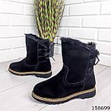 Жіночі черевики шкіряні чорного кольору з натуральної замші, всередині теплий еко хутро, фото 4