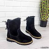 Жіночі черевики шкіряні чорного кольору з натуральної замші, всередині теплий еко хутро, фото 5