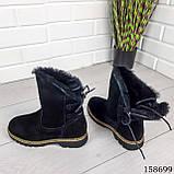 Жіночі черевики шкіряні чорного кольору з натуральної замші, всередині теплий еко хутро, фото 7