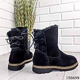 Жіночі черевики шкіряні чорного кольору з натуральної замші, всередині теплий еко хутро, фото 8
