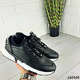 Кросівки чоловічі з еко шкіри чорні. Кеди чоловічі. Мокасини чоловічі, фото 6