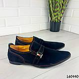 Туфлі чоловічі чорні еко замша, мокасини чоловічі, взуття повсякденне чоловіче, фото 2