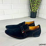 Туфлі чоловічі чорні еко замша, мокасини чоловічі, взуття повсякденне чоловіче, фото 6