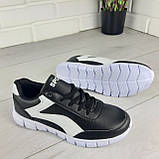 Кросівки жіночі білі + чорний еко шкіра, снікерси жіночі, мокасини жіночі, кеди жіночі, фото 4