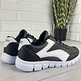 Кросівки жіночі білі + чорний еко шкіра, снікерси жіночі, мокасини жіночі, кеди жіночі, фото 7