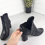 Ботинки женские демисезонные черные. Ботильоны на каблуке. Обувь женская. Обувь деми. Натуральная кожа, фото 2