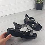 Босоножки женские, сандалии летние . Босоножки на платформе черные из эко кожи, фото 3