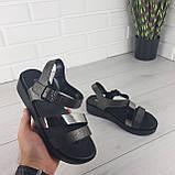 Босоножки женские, сандалии летние . Босоножки на платформе черные из эко кожи, фото 6