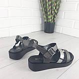 Босоножки женские, сандалии летние . Босоножки на платформе черные из эко кожи, фото 9