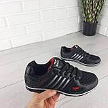 Кросівки жіночі, чорні кросівки на шнурках, текстиль + еко шкіра, фото 3