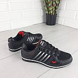 Кросівки жіночі, чорні кросівки на шнурках, текстиль + еко шкіра, фото 4