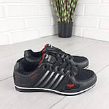 Кросівки жіночі, чорні кросівки на шнурках, текстиль + еко шкіра, фото 6