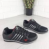 Кросівки жіночі, чорні кросівки на шнурках, текстиль + еко шкіра, фото 7