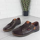 Туфли мужские, мокасины мужские, повседневные туфли на шнурках, коричневые из эко кожи, фото 5