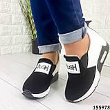 Жіночі кросівки без шнурків чорні + білий з еко шкіри + замша еко., фото 2