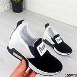 Жіночі кросівки без шнурків чорні + білий з еко шкіри + замша еко., фото 3