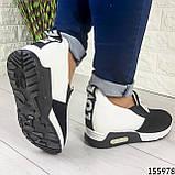 Жіночі кросівки без шнурків чорні + білий з еко шкіри + замша еко., фото 4