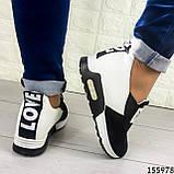 Жіночі кросівки без шнурків чорні + білий з еко шкіри + замша еко., фото 5