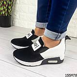 Жіночі кросівки без шнурків чорні + білий з еко шкіри + замша еко., фото 6