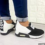 Жіночі кросівки без шнурків чорні + білий з еко шкіри + замша еко., фото 7