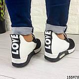 Жіночі кросівки без шнурків чорні + білий з еко шкіри + замша еко., фото 8