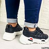 Женские кроссовки черные эко кожа. Женские кроссовки черные на белой подошве, фото 3
