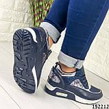 Женские кроссовки синие из эко кожи, фото 2